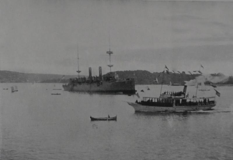 The juno as escort off christiania oslo with other boats 1908