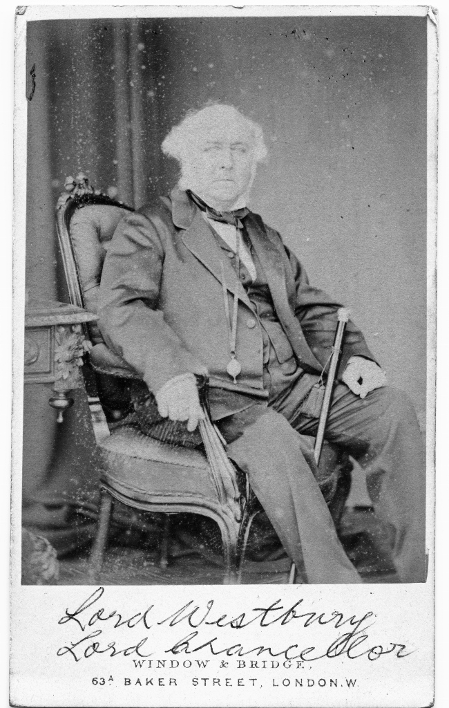 Richard Bethell 1st Lord Wesbury 1800 1873 Carte De Visite By Window And Bridge Of Baker Street London From The Photograph Album Lady Mary Ann Meek